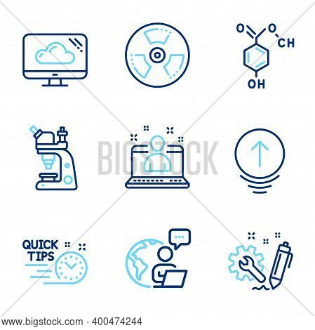Science Icons Set. Included Icon As Microscope, Best Manager, Swipe Up Signs. Quick Tips, Engineerin