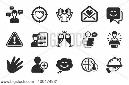 Love Letter, Add User And International Recruitment Icons Simple Set. Hold T-shirt, Job Interview An