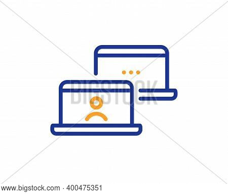 Outsource Work Line Icon. Job At Home Sign. Remote Office Employee Symbol. Quality Design Element. L