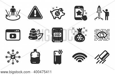 Ssd, Spa Stones And Santa Sack Icons Simple Set. Artificial Intelligence, Piggy Sale And Launch Proj