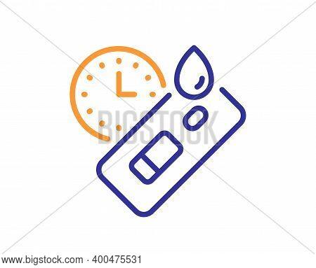 Express Covid Test Line Icon. Coronavirus Testing Sign. Blood Test Tube Symbol. Quality Design Eleme