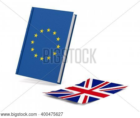 Relationship between Enited Kingdom and EU on white background. Isolated 3D illustration