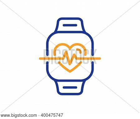 Cardio Training Line Icon. Fitness Watch Workout Sign. Gym Fit Heartbeat Symbol. Quality Design Elem
