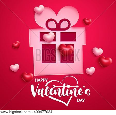 Valentine's Gift Vector Background Design. Happy Valentine's Day Greeting Text With Romantic Gift Pa