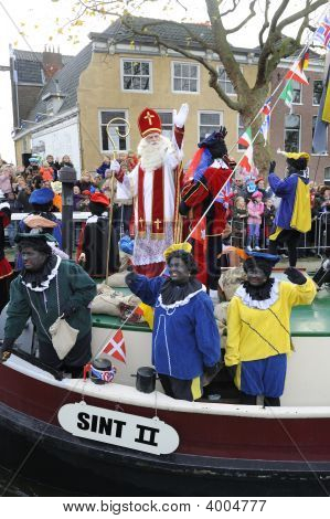 Santa Claus Arrives On Aboat From Spain In Holland