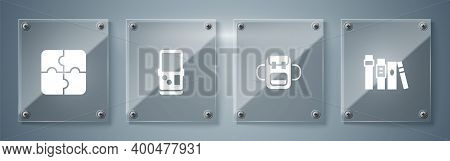 Set Book, School Backpack, Tetris And Piece Of Puzzle. Square Glass Panels. Vector
