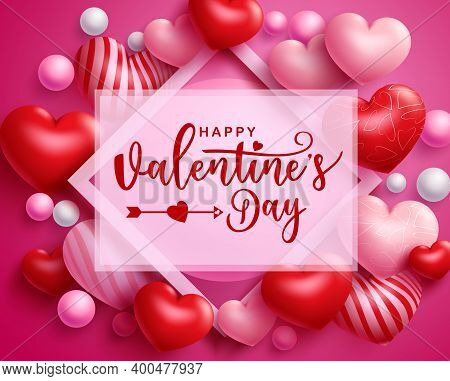Valentine's Vector Template Design. Happy Valentine's Day Typography Text In White Empty Space For M