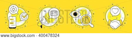 Safe Box, Idea And Phone Insurance Line Icons Set. Cell Phone, Megaphone And Deal Vector Icons. Hear