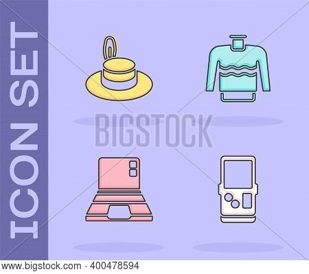 Set Tetris, Man Hat, Laptop And Sweater Icon. Vector