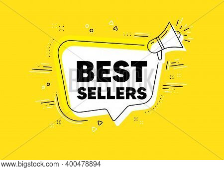 Best Sellers. Megaphone Yellow Vector Banner. Special Offer Price Sign. Advertising Discounts Symbol
