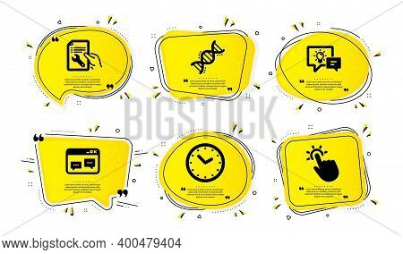 Browser Window, Idea Lamp And Time Icons Simple Set. Yellow Speech Bubbles With Dotwork Effect. Repa