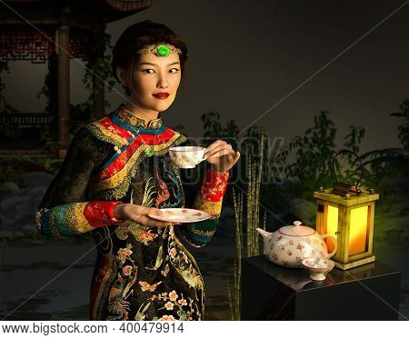 Beautiful Young Asian Chinese Woman Or Girl Outside, Drinking A Cup Of Tea, Dressed In Traditional C