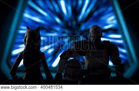 DEC 20 2020:  Scene from Star Wars The Clone Wars Victory and Death with Ahsoka Tano and Captain Rex in hyperspace - Hasbro Action Figure