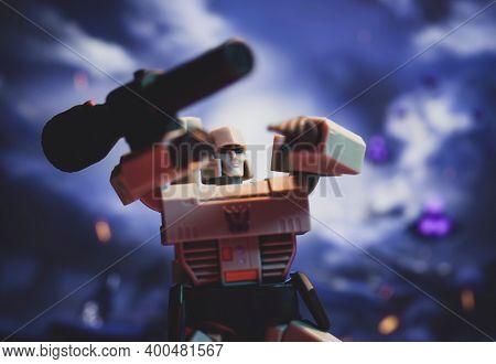 DEC 21 2020: Transformers Megatron battling on Cybertron - Hasbro action figure