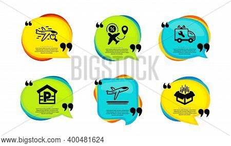 Flight Sale, Departure Plane And Parking Icons Simple Set. Speech Bubble With Quotes. Search Flight,