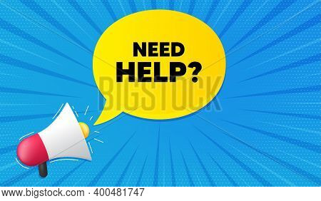Need Help Symbol. Background With Megaphone. Support Service Sign. Faq Information. Megaphone Banner