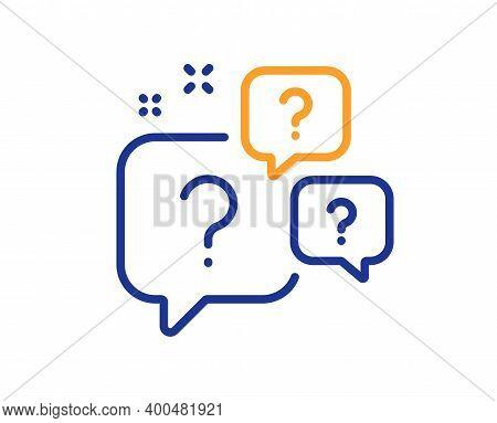 Question Bubbles Line Icon. Ask Help Sign. Faq Questionnaire Symbol. Quality Design Element. Line St