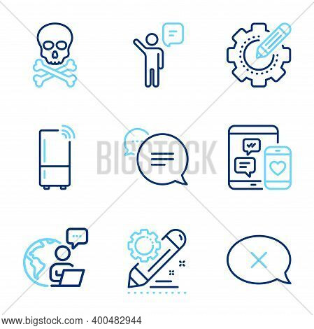 Technology Icons Set. Included Icon As Project Edit, Chemical Hazard, Agent Signs. Social Media, Set