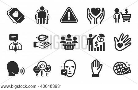 Hold Heart, Face Accepted And World Mail Icons Simple Set. Support Service, Group And Hand Signs. Bu
