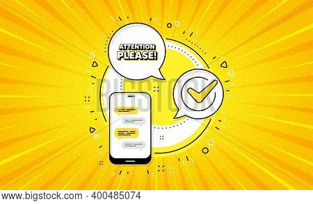 Attention Please. Yellow Vector Button With Phone. Special Offer Sign. Important Information Symbol.
