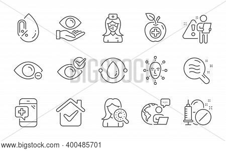 Medical Phone, Medical Food And Nurse Line Icons Set. Cold-pressed Oil, Health Eye And Collagen Skin
