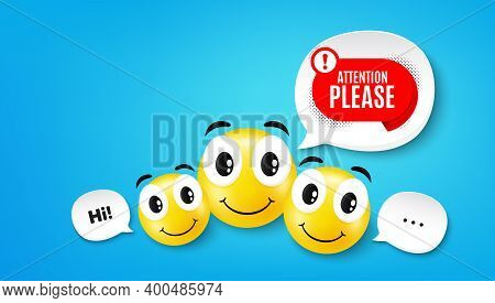Attention Please Banner. Smile Face With Speech Bubble. Warning Chat Bubble Sticker. Special Offer L