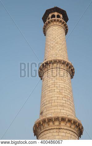 Minaret Of The Taj Mahal. Agra. Uttar Pradesh. India.