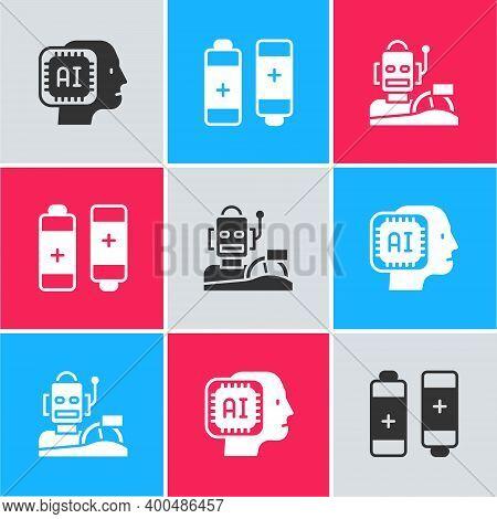 Set Humanoid Robot, Battery And Robot Humanoid Driving Car Icon. Vector