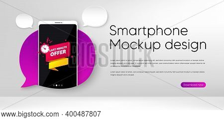 Last Minute Offer Banner. Mobile Phone Vector Mockup. Sale Timer Tag. Countdown Clock Promo Icon. Sm