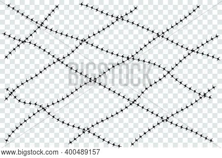 Vector Silhouette Barricade From, Barbed Wire, Suitable Illustration For Demonstration Or Protest