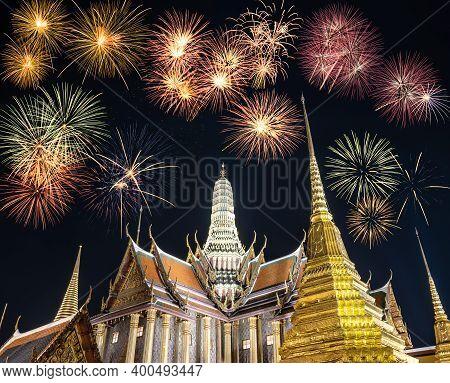 Firework Celebration At Wat Phrasrirattana Sasadaram The Temple Of The Emerald Buddha (wat Phra Kaeo
