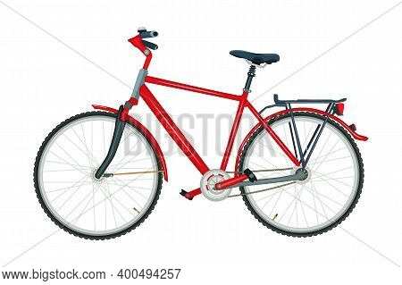 Bicycle Isolated On White Background. Modern Red City Or Mountain Bike. Delivery Bike With Pedals Si