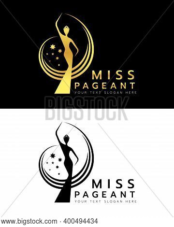 Miss Pageant Logo With Gold And Black Abstract Beauty Queen Wear Crown And Raise Hand Waving And Sta