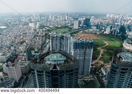 Hanoi, Vietnam - October 14, 2018: Hanoi City View From One Of The Higest Buildings In The City, Han