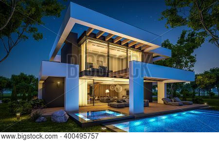 3D Rendering Of Modern House In Luxurious Style In Night