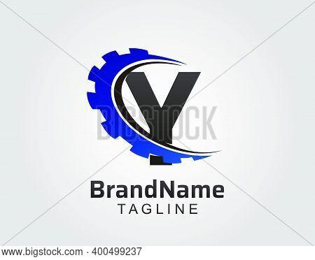 Abstract Y Letter, Y Gear Swoosh Logo.