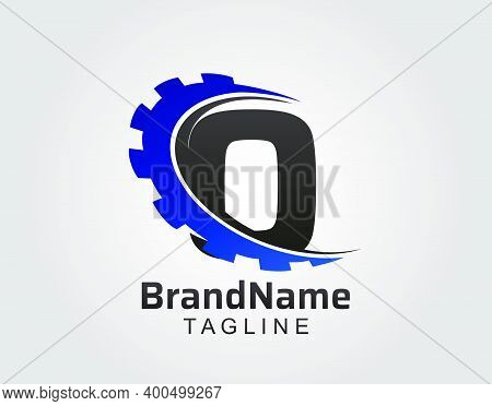Abstract O Letter, O Gear Swoosh Logo.