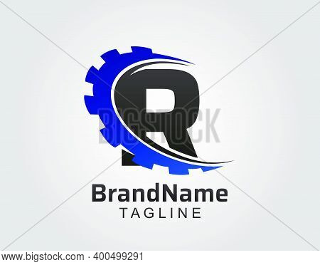 Abstract R Letter, R Gear Swoosh Logo.