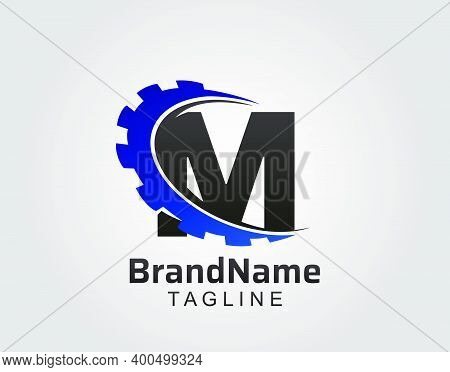 Abstract M Letter, M Gear Swoosh Logo.