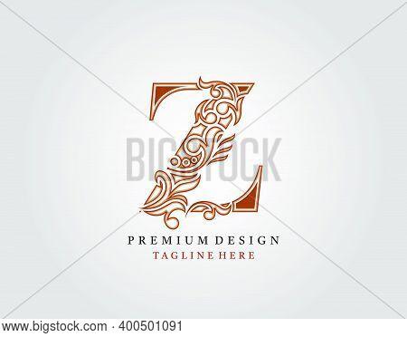Luxury Initial Z Letter Logo Icon, Elegant Floral Ornament Monogram Design Vector.