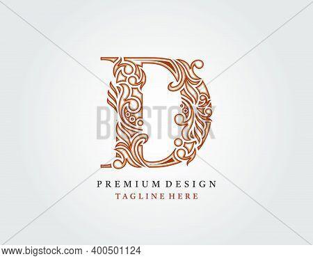 Luxury Initial D Letter Logo Icon, Elegant Floral Ornament Monogram Design Vector.