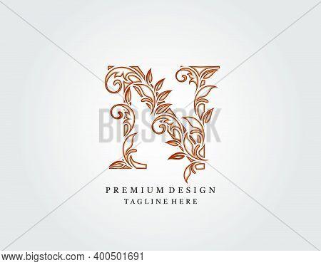 Calligraphic N Letter Logo Design, Elegant Floral Ornate Alphabet Design Vector.