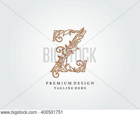 Calligraphic Z Letter Logo Design, Elegant Floral Ornate Alphabet Design Vector.
