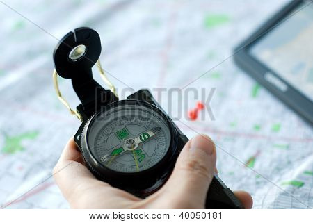 using compass map and GPS