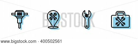 Set Line Adjustable Wrench, Construction Jackhammer, Location With And Toolbox Icon. Vector