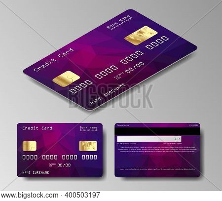 Set Of Realistic Credit Card Two Sides. Vector Illustration Of Black Credit Card Isolated On White B