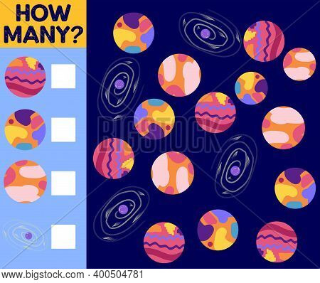 Counting Game For Preschool Children. Educational A Mathematical Game. Count How Many Space Objects