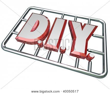 The letters D I Y in a model kit to symbolize a do it yourself attitude in taking on a project and learning to complete a job on your own