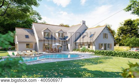 3D rendering of a classical pitched slate roof house with swimming pool and garden