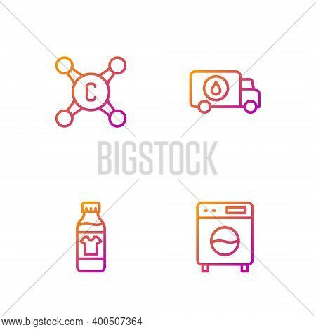 Set Line Washer, Bottle For Cleaning Agent, Water Tap And Plumber Service Car. Gradient Color Icons.